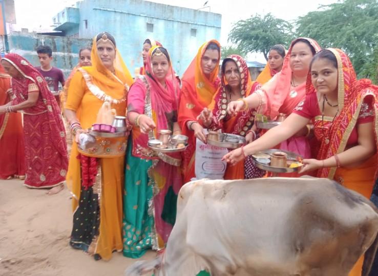 बेटे की लंबी आयु के लिए गाय और बछड़े की पूजा कर कथा सुनी, गोमाता के पैरों में लगी मिट्टी से तिलक लगाए; बच्चों ने उठाए लड्डू नागौर,Nagaur - Dainik Bhaskar