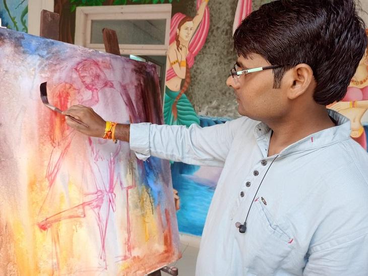 विवि में शुरू हुआ तीन दिवसीय राष्ट्रीय चित्रकार शिविर, 18 कलाकार ले रहे है भाग|कानपुर,Kanpur - Dainik Bhaskar