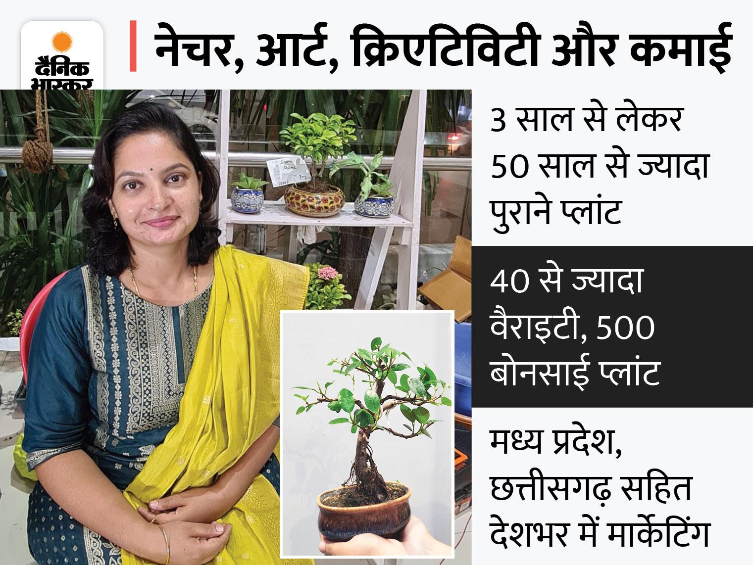 रायपुर की पूर्णिमा ने 3 साल पहले बोनसाई प्लांट का स्टार्टअप शुरू किया, अब सालाना 7 लाख रु. का बिजनेस, देशभर में मार्केटिंग|DB ओरिजिनल,DB Original - Dainik Bhaskar