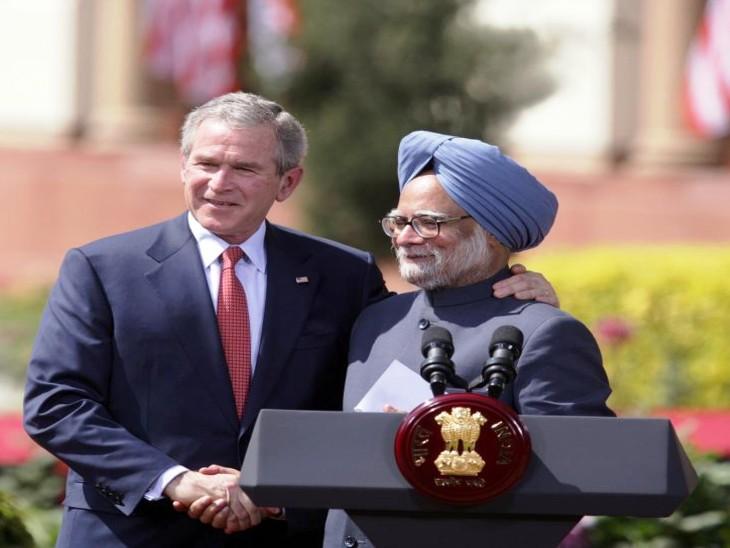 ये डील अमेरिकी राष्ट्रपति जॉर्ज बुश और भारतीय प्रधानमंत्री मनमोहन सिंह के बीच साइन की गई थी। फोटो मार्च 2006 की है।