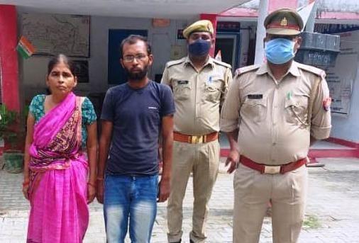 अयोध्या के कुमारगंज थाना में गिरफ्तार दहेज लोभी पति व सास - Dainik Bhaskar