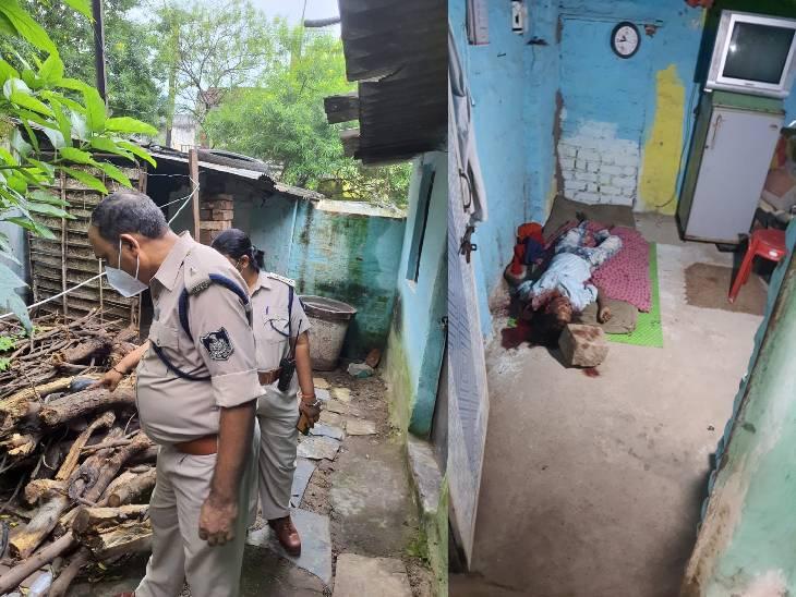 आंगन में रखे पत्थर से की गई है हत्या। घटनास्थल की जांच करते एएसपी गोपाल खांडेल और सीएसपी कैंट भावना मरावी।