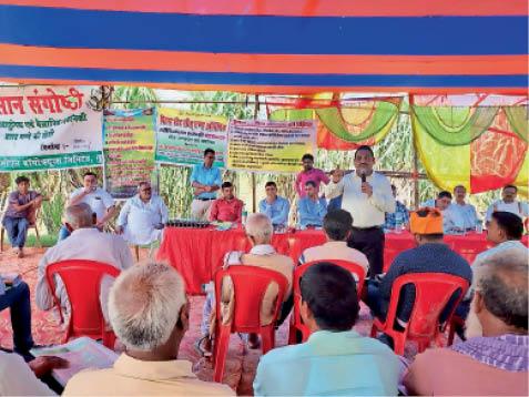 कार्यक्रम में शामिल मिल अधिकारी, प्रशिक्षक व किसान। - Dainik Bhaskar
