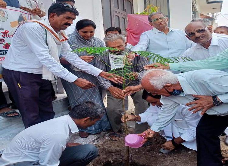नया गांव इमानुएल मिशन स्कूल के निकट पौधरोपण करते कांग्रेसजन। - Dainik Bhaskar
