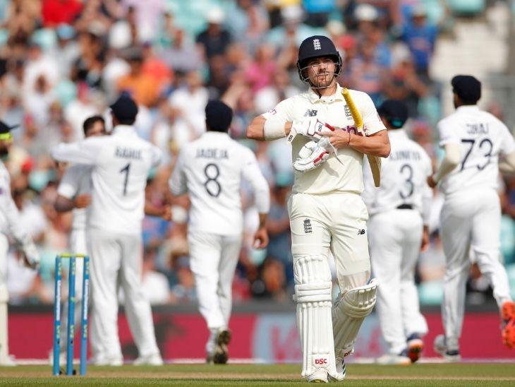 शार्दूल ठाकुर ने रोरी बर्न्स को आउट कर इंग्लैंड को पहला झटका दिया।