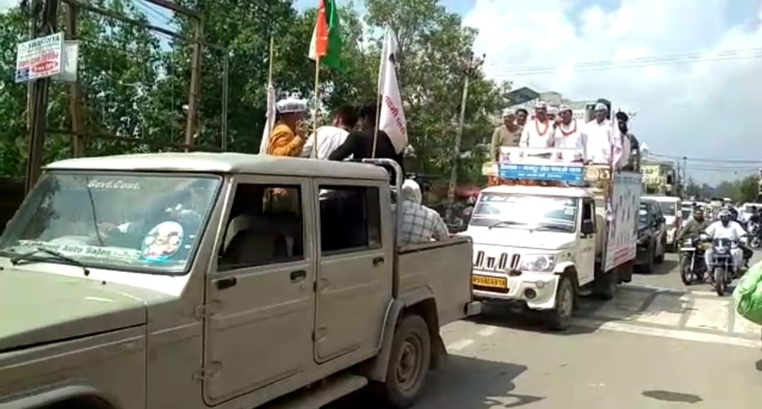 झज्जर पहुंची आम आदमी पार्टी की किसान-मजदूर यात्रा। - Dainik Bhaskar