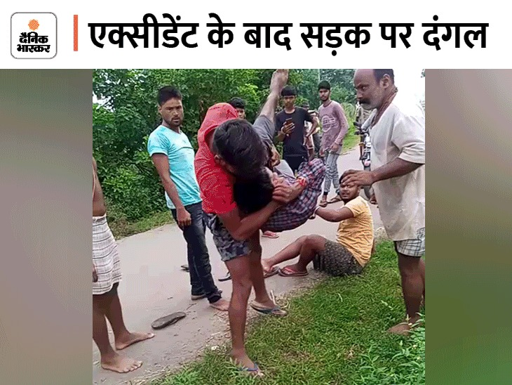 बाइक की टक्कर के बाद गुस्साई भीड़ ने युवक को बेदम होने तक पीटा, जमीन पर उठा-उठाकर पटका|रीवा,Rewa - Dainik Bhaskar