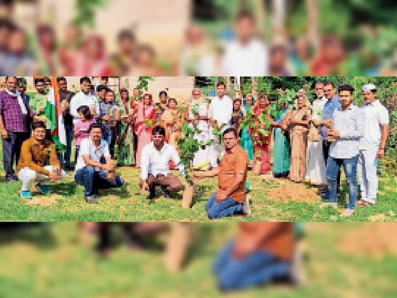 पौधरोपण करते हुए कांग्रेस कार्यकर्ता। - Dainik Bhaskar