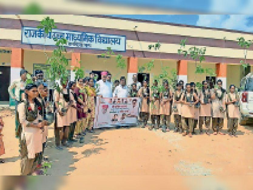 गांव कादिया में पौधरोपण किया गया। - Dainik Bhaskar