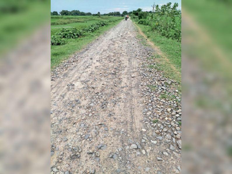 समय सीमा समाप्ति के दो वर्ष बीतने के बाद भी अधूरी सड़क। - Dainik Bhaskar