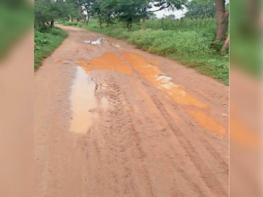 बांदीकुई ग्रामीण.आभानेरी की सेवापुरा ढाणी में कच्चा रोड। - Dainik Bhaskar