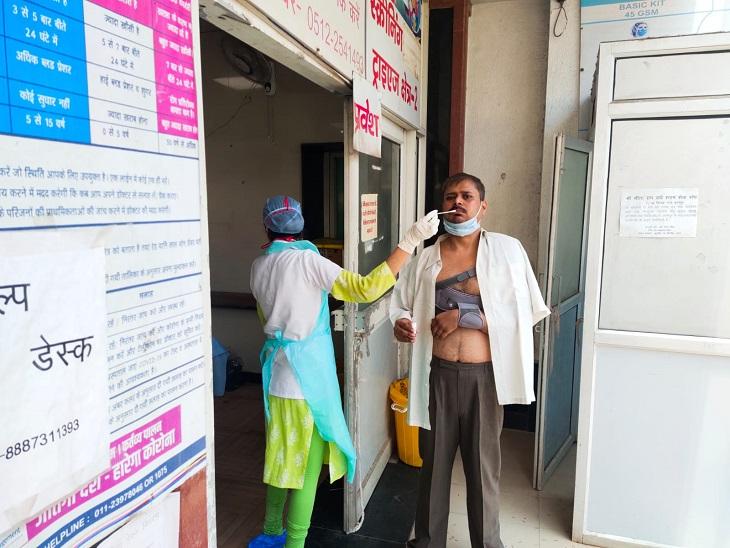 हैलट के इमरजेंसी में जांच करती मेडिकल स्टाफ - Dainik Bhaskar