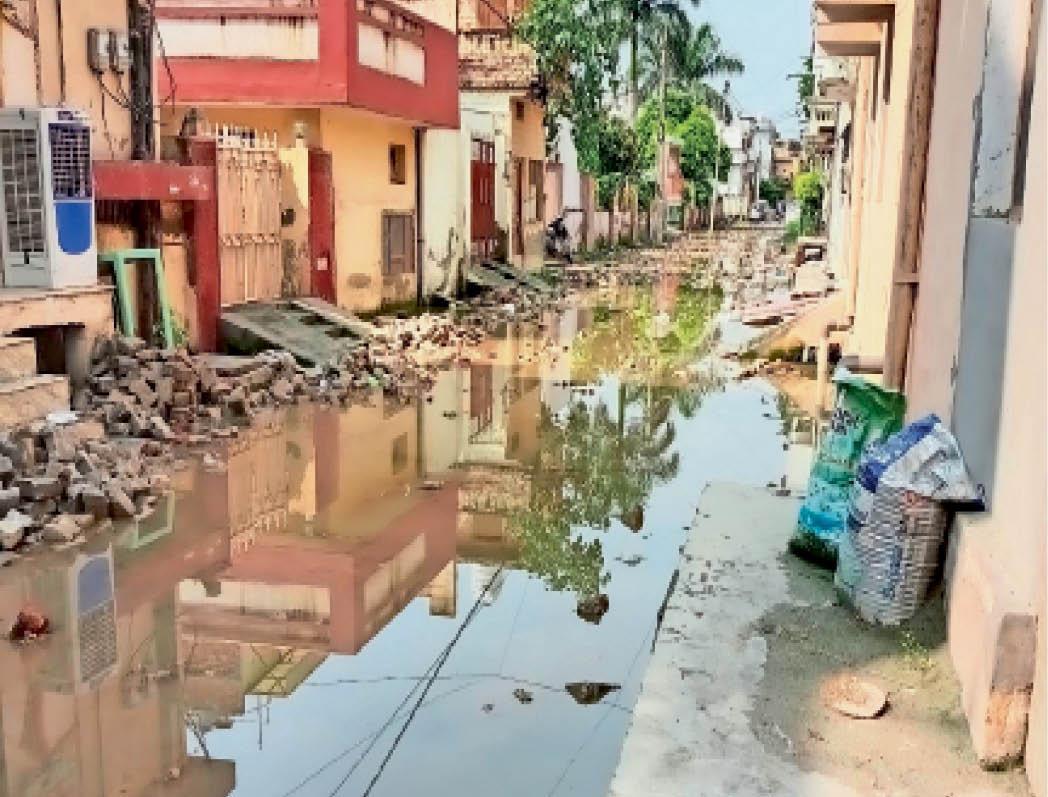 पानीपत. गीता काॅलाेनी में गली उखाड़ने के कारण बरसात के पानी की निकासी नहीं हाेने से हुआ कीचड़। - Dainik Bhaskar