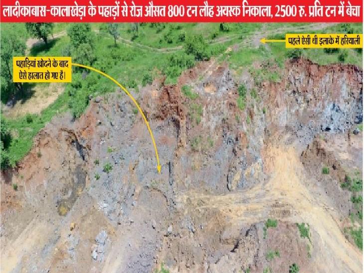 लादीकाबास वन क्षेत्र में लौह अयस्क निकालने के लिए खोदी गई पहाड़ियां।  - Dainik Bhaskar