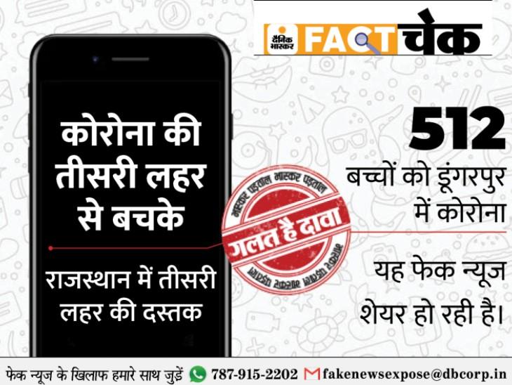 डूंगरपुर में कोरोना से 512 बच्चों के पॉजिटिव होने की खबर सिर्फ अफवाह; 72 दिनों से एक भी केस नहीं, न तीसरी लहर की आशंका|डूंगरपुर,Dungarpur - Dainik Bhaskar