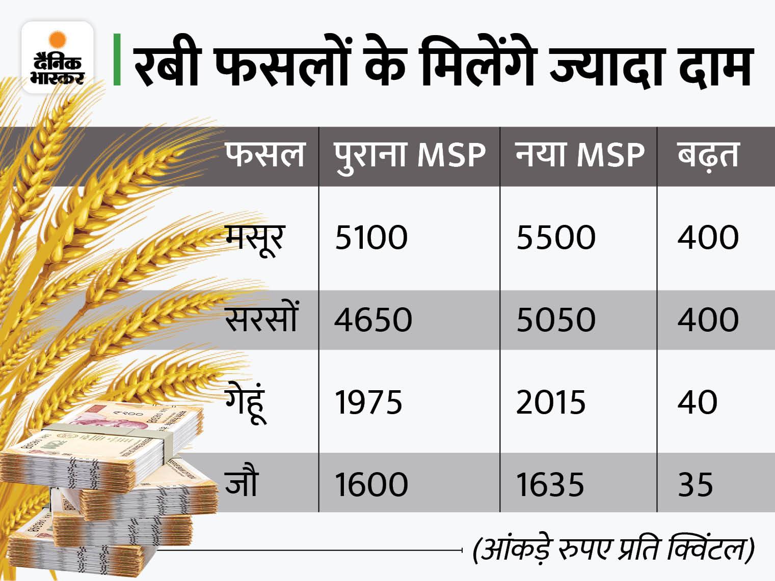 मसूर का MSP 400 और गेहूं का 40 रुपए प्रति क्विंटल बढ़ाया, 10683 करोड़ की टेक्सटाइल PLI स्कीम को भी मंजूरी|बिजनेस,Business - Dainik Bhaskar