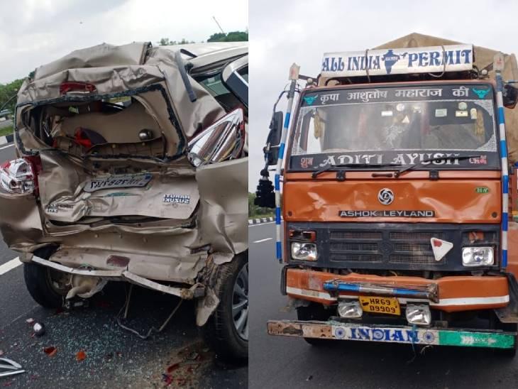 तेज रफ्तार डीसीएम ने पीछे से कार में मारी टक्कर, कार सवार एक की मौत, 4 घायल; राजस्थान से अयोध्या जा रहे थे|कन्नौज,Kannauj - Dainik Bhaskar