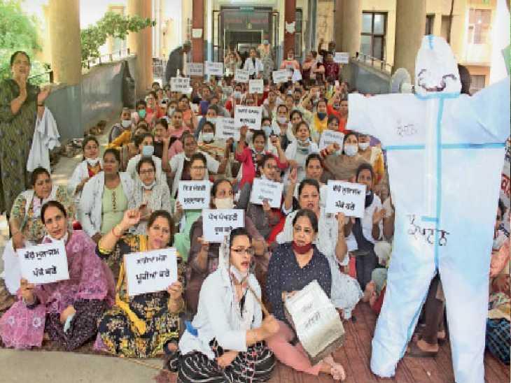 नर्सिंग स्टाफ की हड़ताल 32 घंटे बाद खत्म, दूसरे दिन भी गर्भवतियों को किया गया रेफर|जालंधर,Jalandhar - Dainik Bhaskar