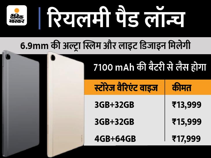 स्मार्ट कनेक्ट फीचर से टैब रियलमी वॉच से भी अनलॉक हो जाएगा, 7100mAh की दमदार बैटरी मिलेगी; शुरुआती कीमत 15,999 रुपए|टेक & ऑटो,Tech & Auto - Dainik Bhaskar