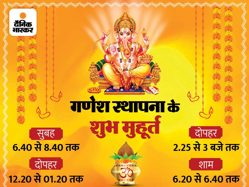 गणपति स्थापना के लिए 4 शुभ मुहूर्त; पूजा के लिए जरूरी चीजें, प्रतिमा स्थापना और पूजा की आसान विधि|धर्म,Dharm - Dainik Bhaskar