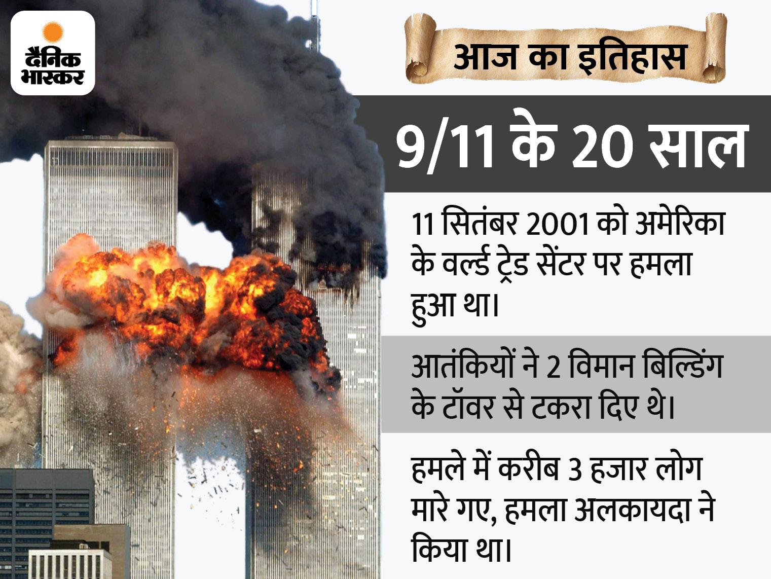 वर्ल्ड ट्रेड सेंटर से पहला विमान टकराया तो लोगों को लगा ये कोई हादसा है, 18 मिनट बाद दूसरा टकराया तब आतंकी हमले का पता चला|देश,National - Dainik Bhaskar
