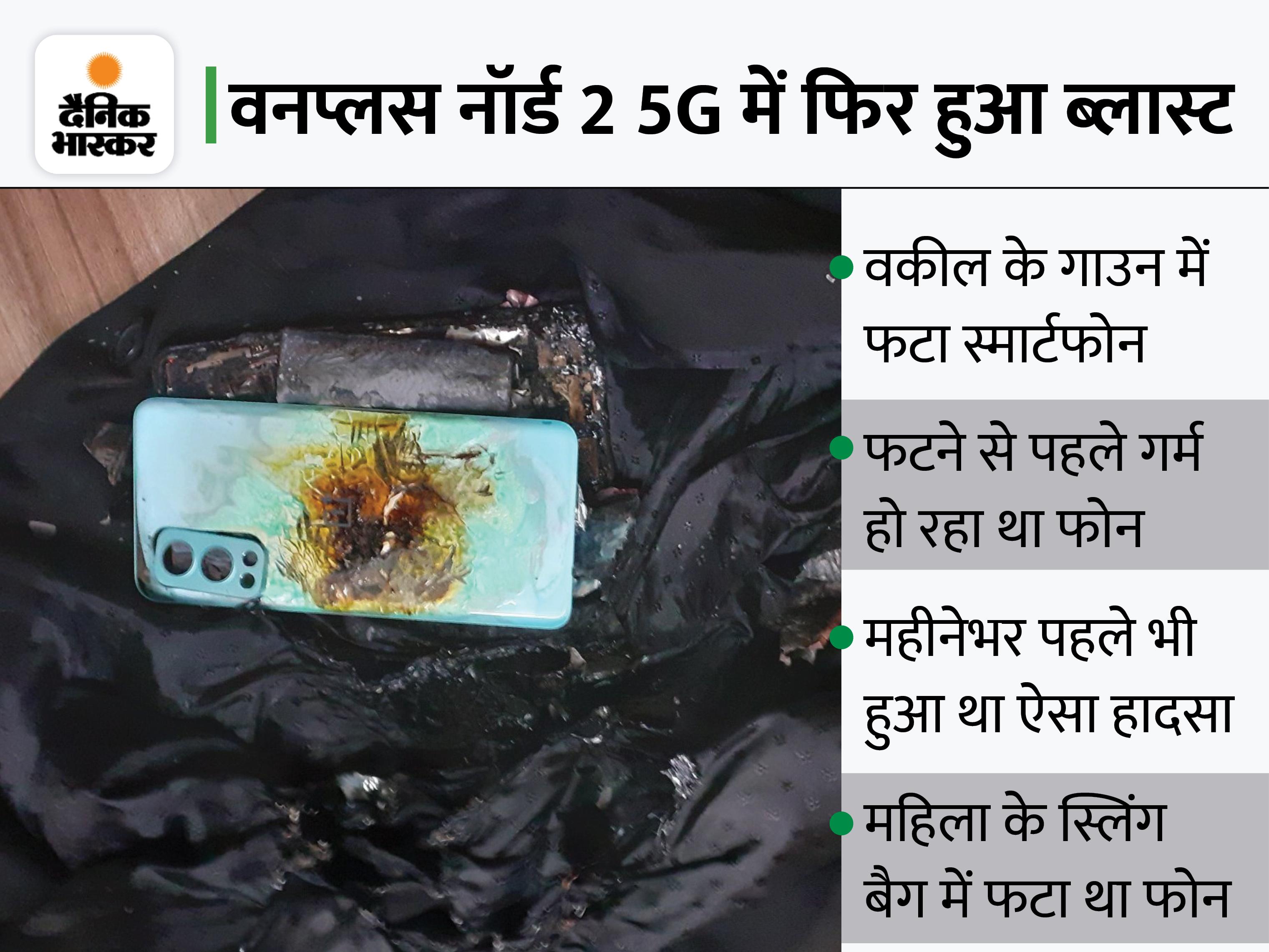वकील के गाउन में फटा नॉर्ड 2 5G, ब्लास्ट से पहले निकलने लगा था धुआं; महीनेभर पहले महिला के बैग में फटा था यही मॉडल|टेक & ऑटो,Tech & Auto - Dainik Bhaskar