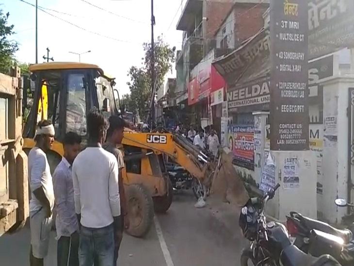 सड़कों के चौड़ीकरण के लिए चलाया गया अभियान, SDM बोले 7 दिनों तक चलेगा अभियान, हटाए जाएंगे कब्जे|आजमगढ़,Azamgarh - Dainik Bhaskar