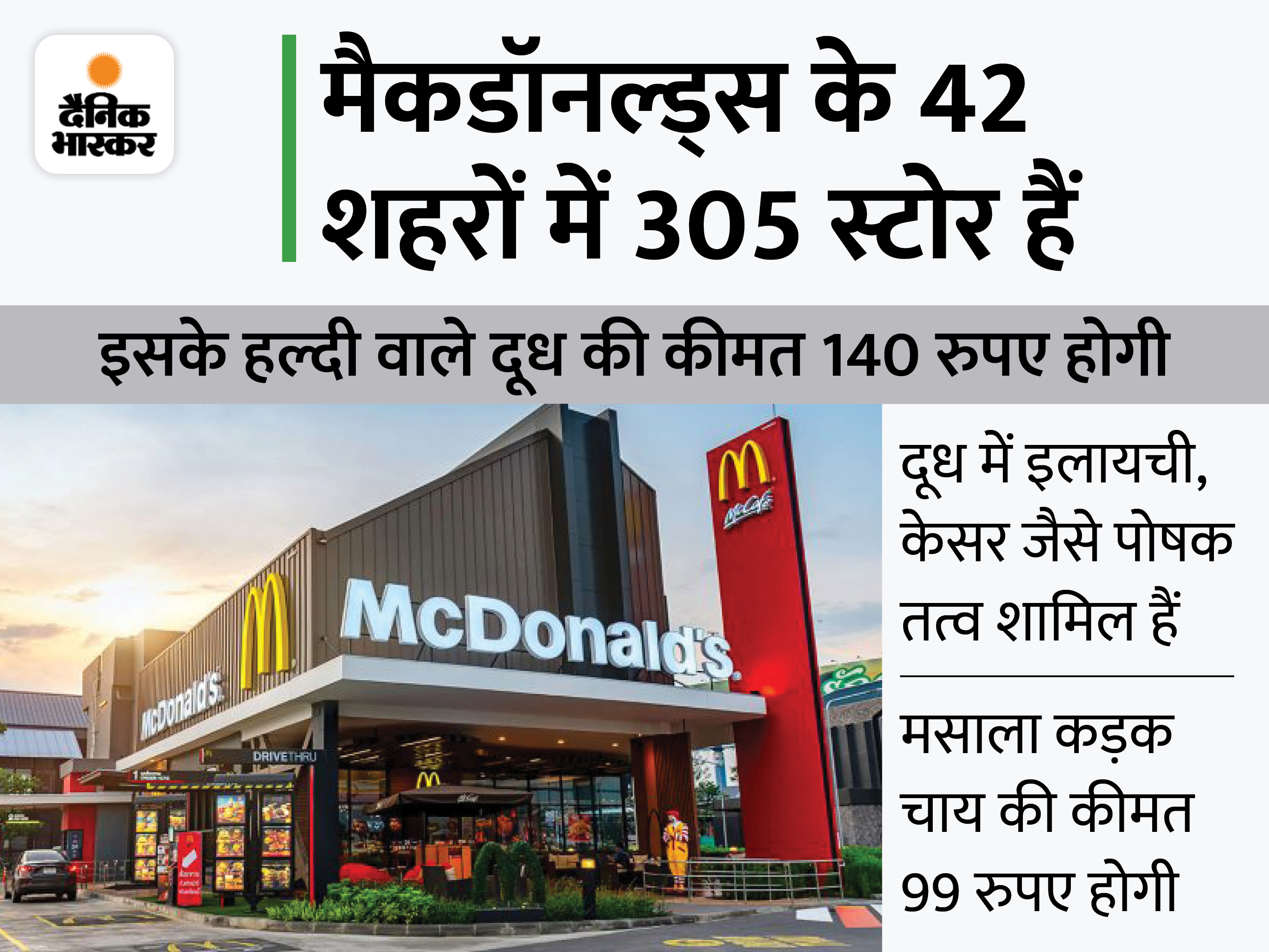 मैकडी में अब मसाला कड़क चाय और हल्दी वाला दूध भी मिलेगा, इम्यूनिटी बूस्टर पर कंपनी का फोकस|बिजनेस,Business - Dainik Bhaskar