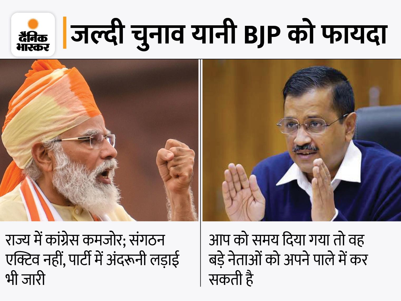 BJP तय समय से 10 महीने पहले चुनाव कराने की तैयारी में, निकाय चुनाव में जीत और AAP की बढ़ती पैठ इसकी वजह|गुजरात,Gujarat - Dainik Bhaskar