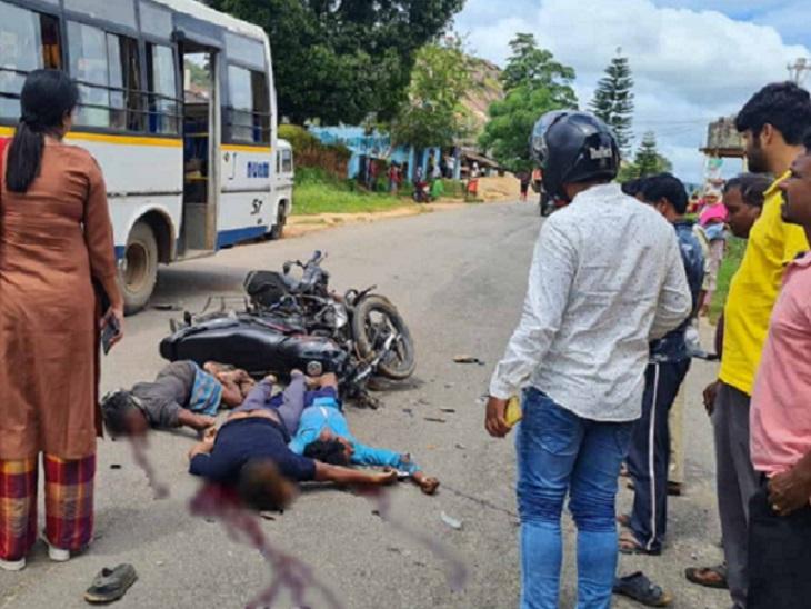 तेज रफ्तार बाइक की भिड़ंत में 2 युवकों की मौत, 4 घायल में से 3 की हालत गंभीर; किसी ने भी नहीं लगाया था हेलमेट छत्तीसगढ़,Chhattisgarh - Dainik Bhaskar