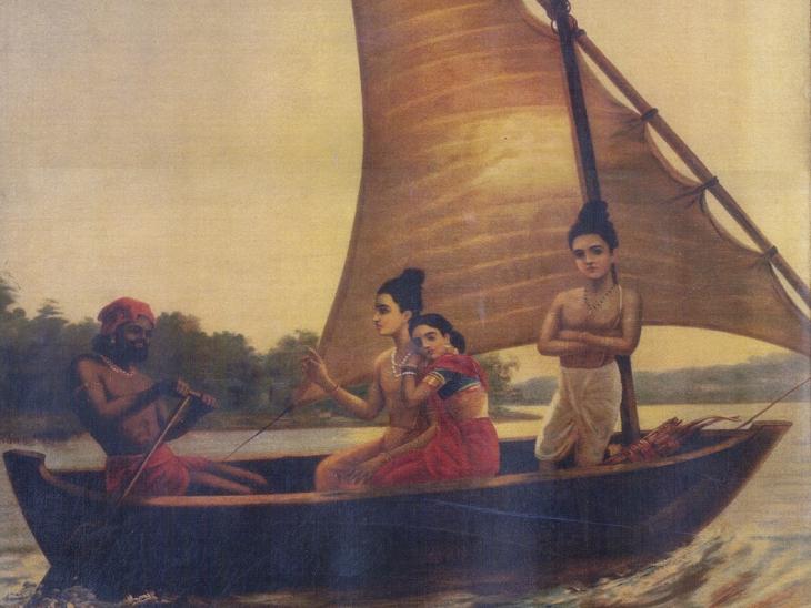 राजा रवि वर्मा की विख्यात पेंटिंग 'राम वनवास'। रवि वर्मा ने इसे 1890 में बनाया था। (फोटो साभार : राजा रवि वर्मा हेरिटेज फाउंडेशन)। - Dainik Bhaskar
