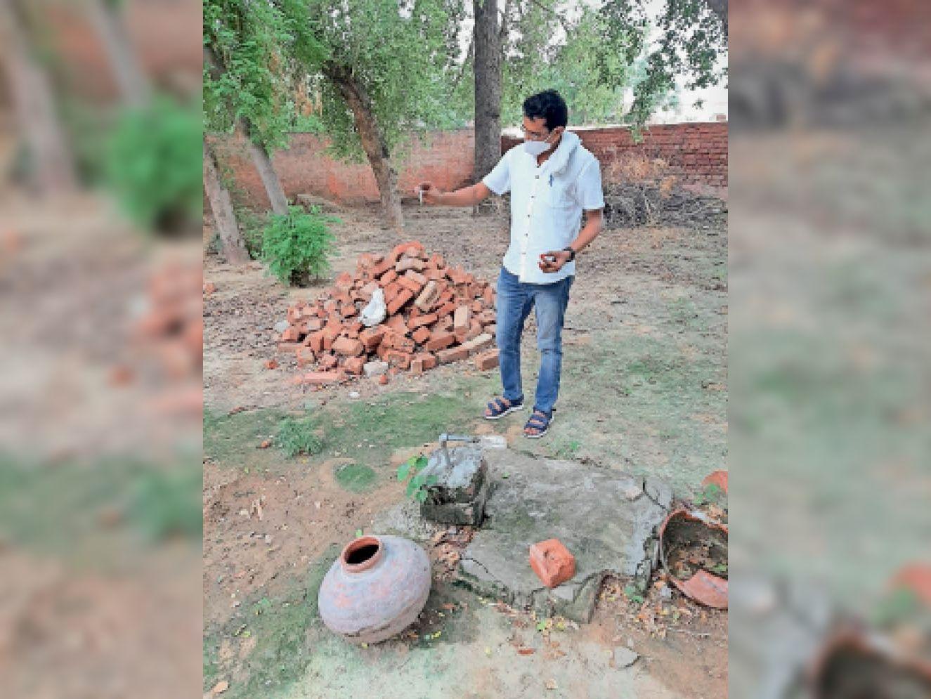 फतेहाबाद। डेंगू के लारवा की जांच करते स्वास्थ्य कर्मचारी। - Dainik Bhaskar