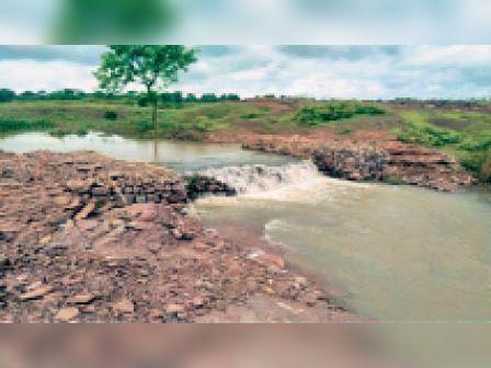नाला जिससे किसानों को सिंचाई के लिए मिल रहा पानी। - Dainik Bhaskar