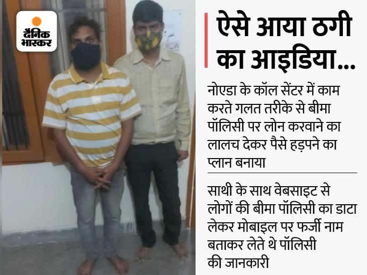 ऑनलाइन पॉलिसी करने और उस पर लोन का झांसा देने वाले UP के 2 लोग हिसार पुलिस ने पकड़े; रिजर्व बैंक और IRDAI के फर्जी कागजात भेजकर लेते थे झांसे में|हिसार,Hisar - Dainik Bhaskar