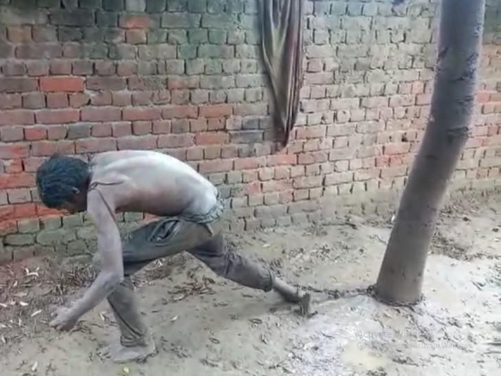 लुधियाना के सियाला गांव में नशे की लत से पागल हो गया बेटा, विधवा मां के पास इलाज को पैसे नहीं थे, इसलिए पेड़ से बांधा|लुधियाना,Ludhiana - Dainik Bhaskar
