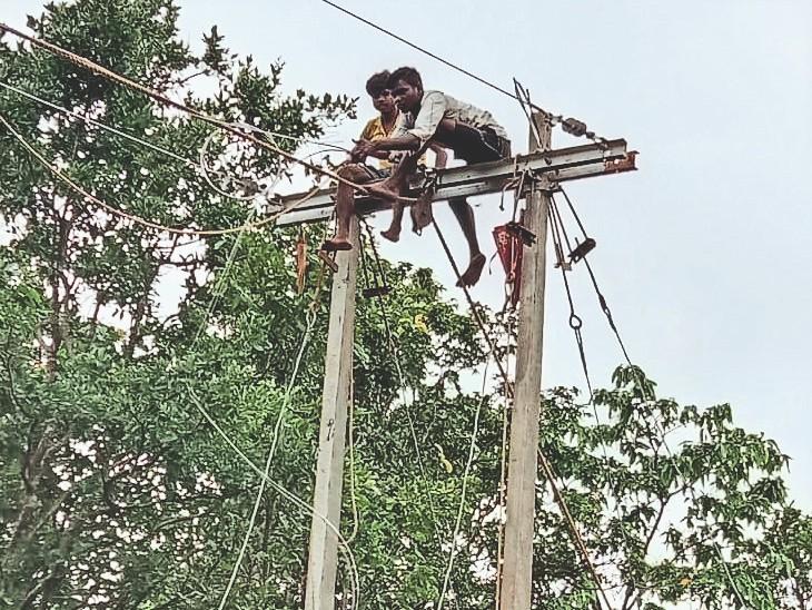 जगदलपुर. कांदानार के लिए बिजली लाइन बिछाते कर्मचारी। - Dainik Bhaskar