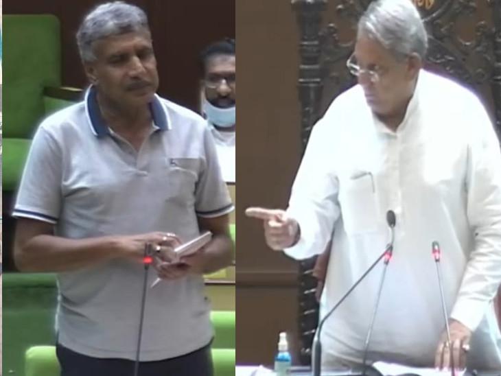 विधानसभा में बीजेपी विधायक ज्ञानचंद पारख (बांए) और सभापति राजेंद्र पारीक। - Dainik Bhaskar