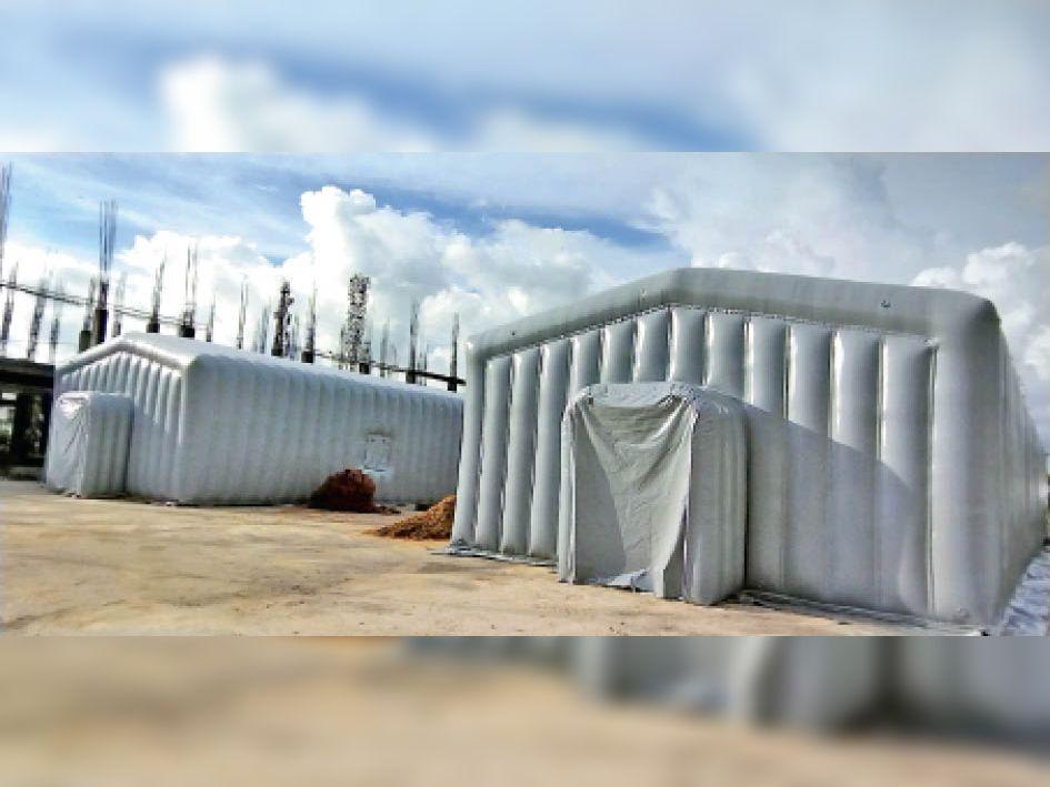 हवा भरकर इस तरह तैयार किया गया है बैलून अस्पताल। - Dainik Bhaskar