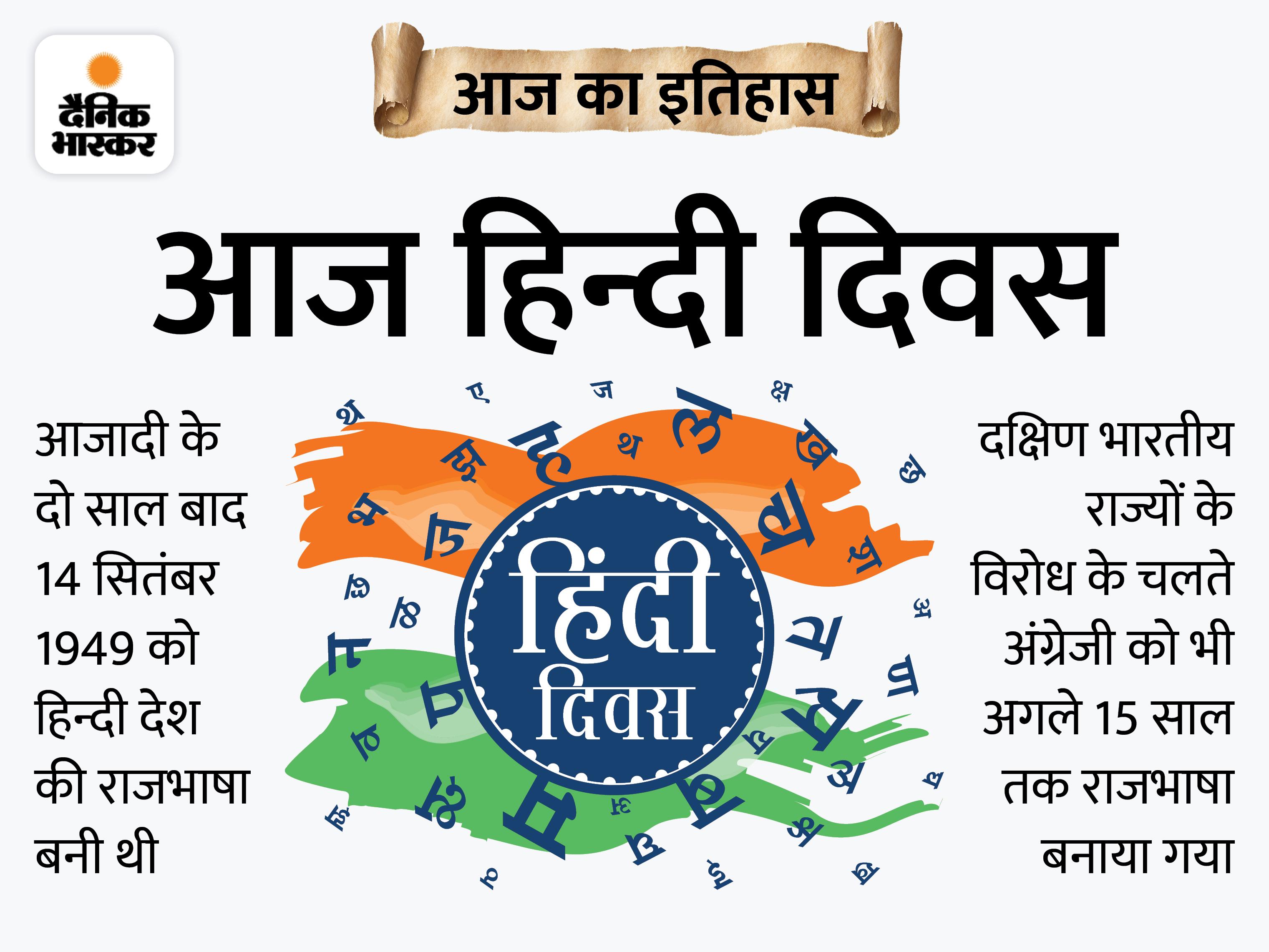 72 साल पहले हिन्दी राजभाषा बनी, 1953 से हर साल 14 सितंबर को मनाया जाता है हिन्दी दिवस|देश,National - Dainik Bhaskar