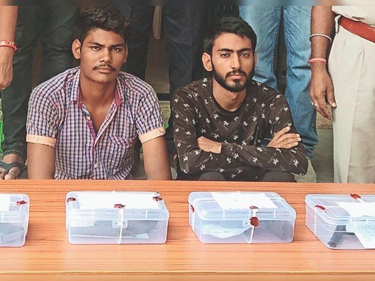हथियारों के साथ पुलिस की गिरफ्त में आरोपी। - Dainik Bhaskar