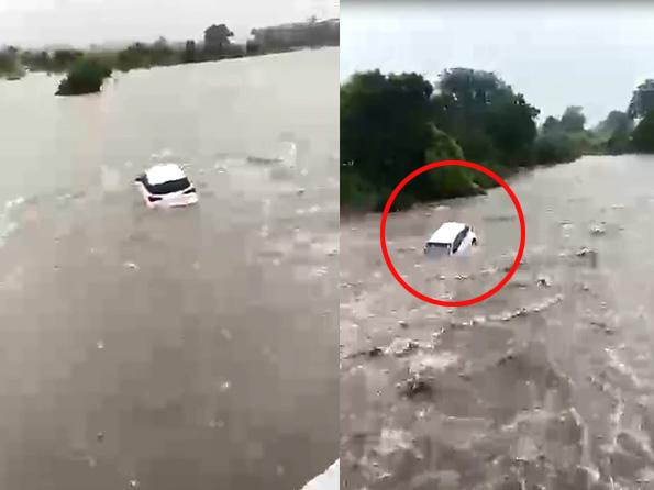 राजकोट में कार सवार कारोबारी ड्राइवर समेत नदी में बहे, तलाश के लिए नेवी बुलाई; जूनागढ़ और जामनगर में भी हालात बिगड़े|गुजरात,Gujarat - Dainik Bhaskar