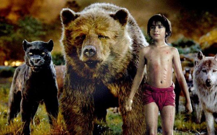 जंगल बुक के कैरेक्टर्स मोगली, बघीरा और भालू बल्लू।