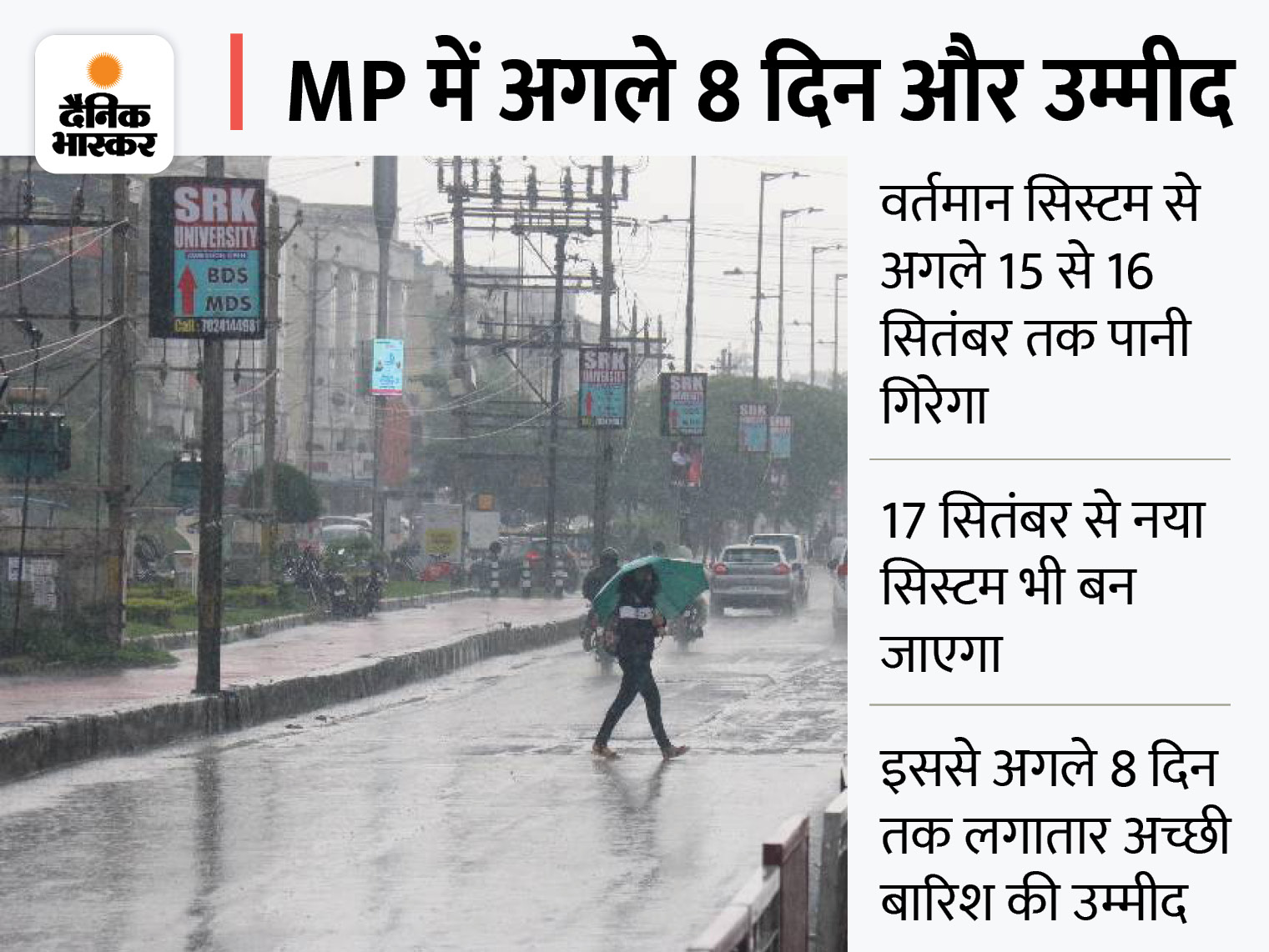 भोपाल में सुबह से धूप के बाद तेज बौछारें; इंदौर में तेज बारिश, अगले 24 घंटे में प्रदेश भर में अच्छी बारिश के आसार, 22 जिलों में अलर्ट|मध्य प्रदेश,Madhya Pradesh - Dainik Bhaskar