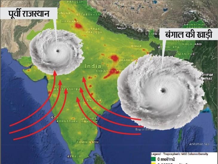 पूर्वी राजस्थान में कम दबाव के क्षेत्र से बारिश बंगाल की खाड़ी में बन रहा दूसरा ऐसा ही क्षेत्र। - Dainik Bhaskar