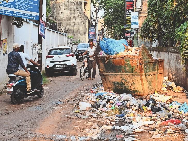 नगर निगम में कर्मचारियों की हड़ताल से शहर में जमा हुआ कचरे का अंबार। - Dainik Bhaskar