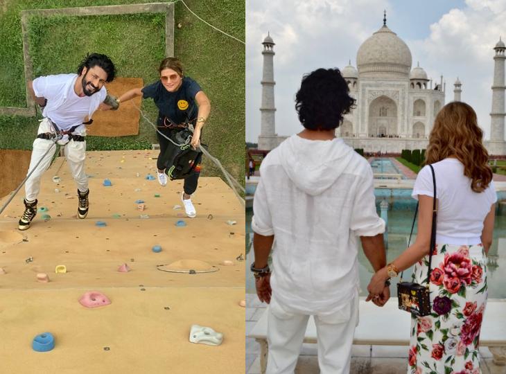 आगरा में 150 मीटर लंबी दीवार से रैपलिंग करते हुए विद्युत जामवाल ने किया था नंदिता मेहतानी को प्रपोज, अब कंफर्म की सगाई बॉलीवुड,Bollywood - Dainik Bhaskar