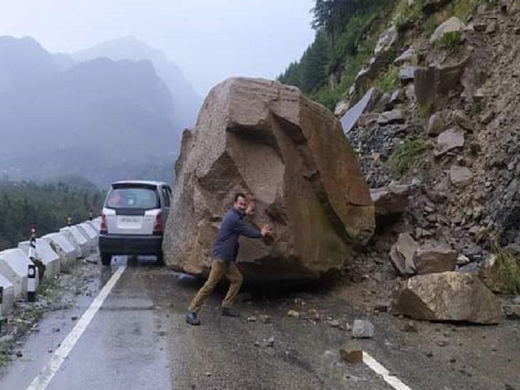 कुल्लू में मनाली के पास गिरी चट्टान; किन्नौर में सतलुज पर बना पुल क्षतिग्रस्त, रिकांगपिओ में लैंडस्लाइड, एक की मौत, 2 घायल शिमला,Shimla - Dainik Bhaskar