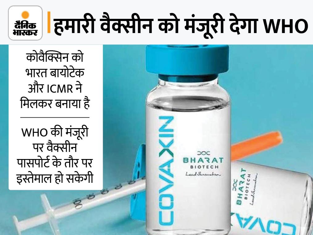 कोवैक्सिन को इसी हफ्ते मिल सकती है WHO की मंजूरी; दुनियाभर में एक्सपोर्ट की जा सकेगी, विदेश यात्रा में भी आसानी|देश,National - Dainik Bhaskar