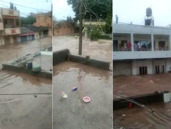 जामनगर के एक इलाके में डूबे घर।