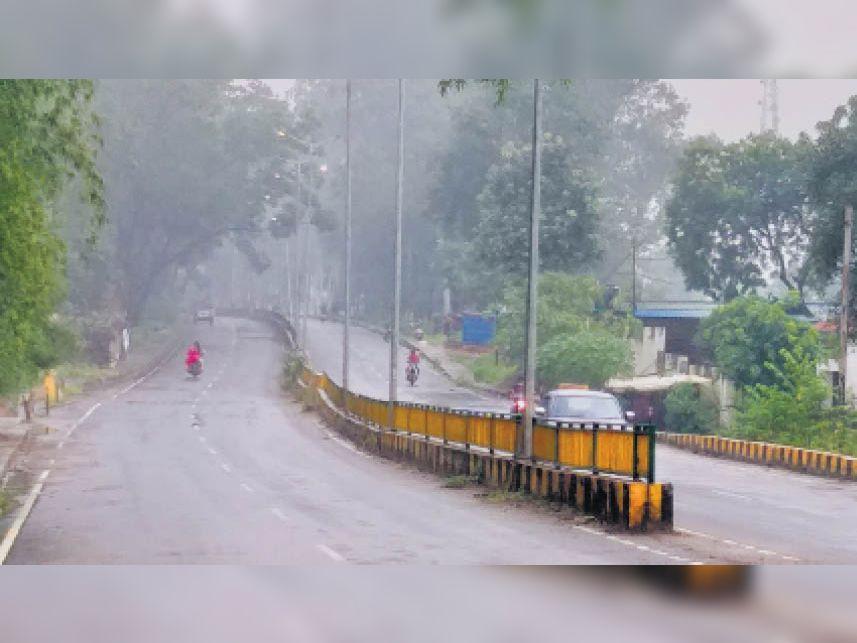 बारिश के बीच प्रतापपुर रोड में वन विभाग के सामने ऐसा रहा नजारा। - Dainik Bhaskar